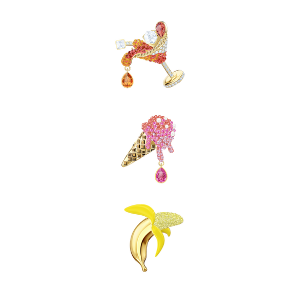 No Regrets Brooch Set, Multi-colored, Gold plating