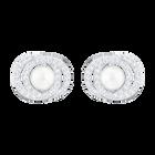 Elaborate Pierced Earrings, White, Rhodium plated