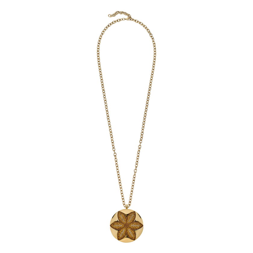 Evil Eye Disc Pendant, Brown, Gold-tone plated
