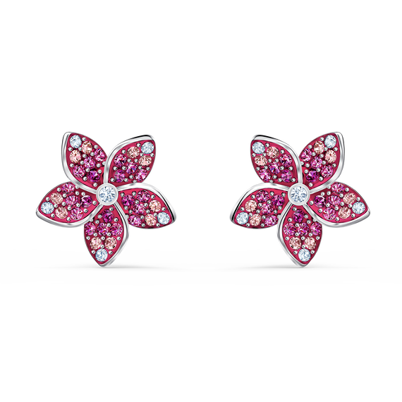 Tropical Flower Pierced Earrings, Pink, Rhodium plated