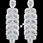 Baron Pierced Earrings, Blue, Rhodium Plated