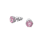 Birthstone earrings, October, Pink, Rhodium plated