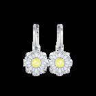 Sunshine Pierced Earrings, White, Rhodium plated