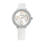 Crystal Frost Watch, Leather Strap, White, Stainless Steel
