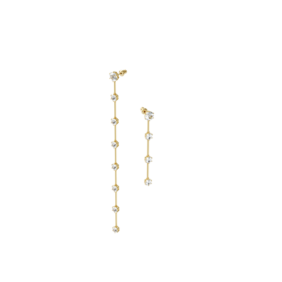 Constella earrings, Asymetrical, White, Gold-tone plated