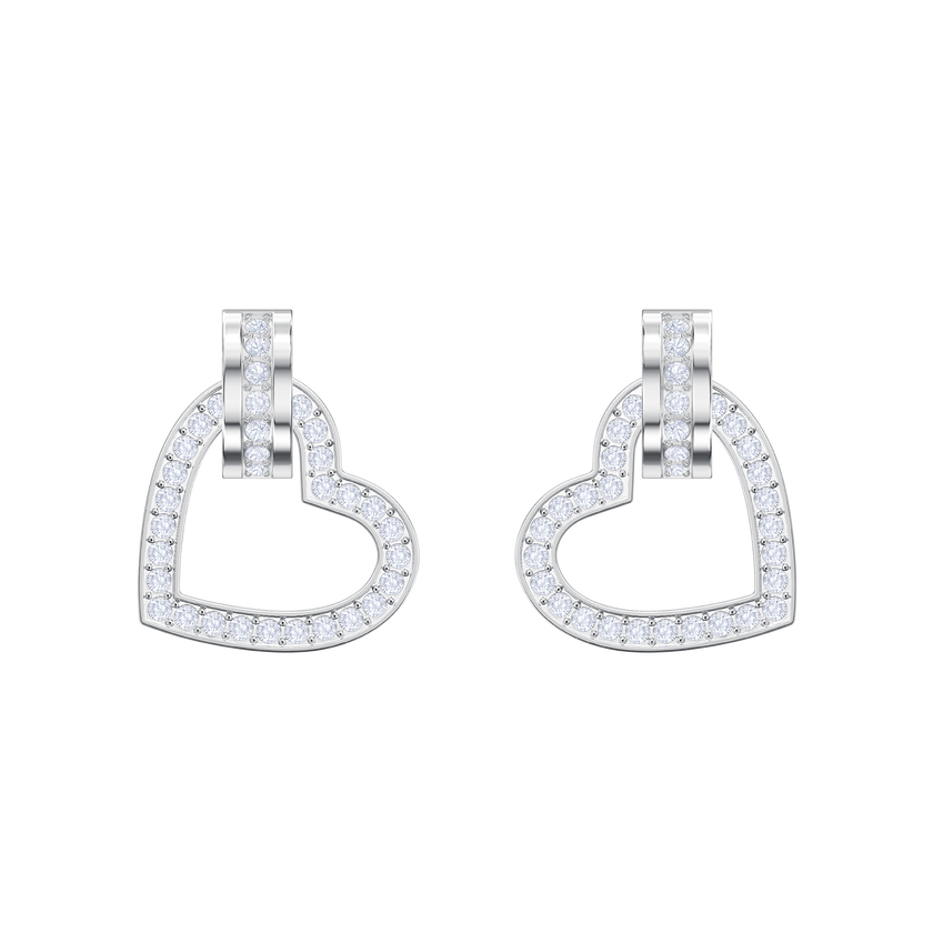 Lovely Pierced Earrings, White, Rhodium plating