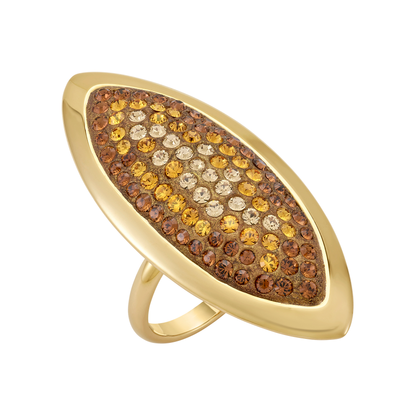 Evil Eye Ring, Large, Brown, Gold-tone plated