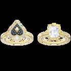 Tarot Magic Ring set, Multi-colored, Gold-tone plated