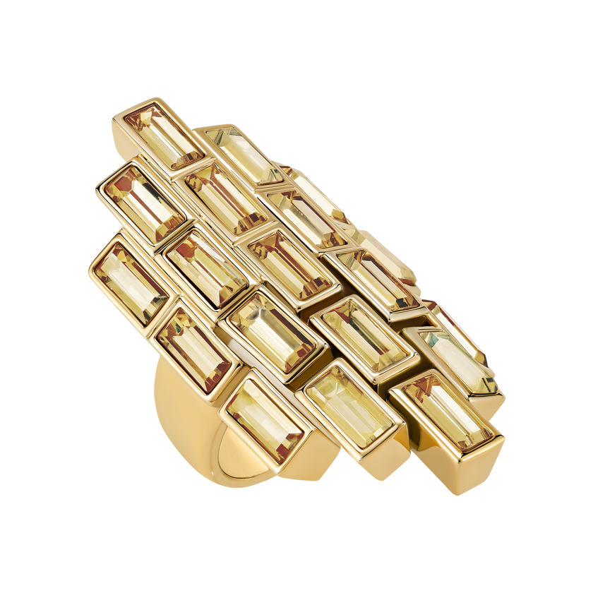 Fluid Cocktail Ring, Brown, Gold-tone plated