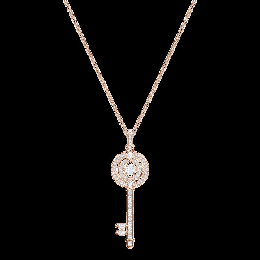 Sparkling Dance Key Pendant, White, Rose gold plating