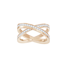 Delta Cross Ring, White, Rose-gold tone plated