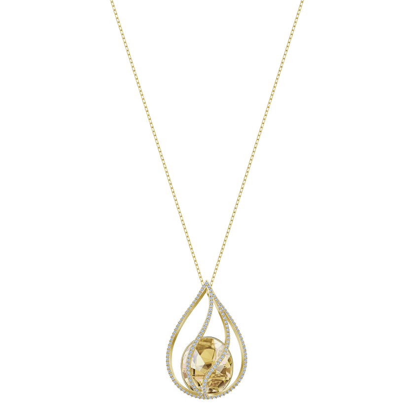 Energic Necklace, Brown, Gold-tone plated