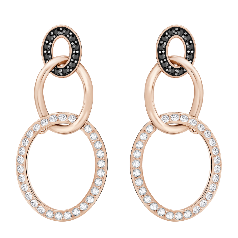 Greeting Ring Pierced Earrings, Black, Rose-gold tone plated