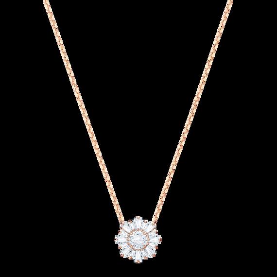 Sunshine Pendant, White, Rose gold plating
