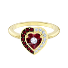 Black Baroque Motif Ring, Red, Gold-tone plated
