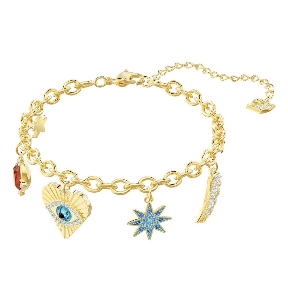 Lucky Goddess Charms Bracelet, Multi-colored, Gold plating
