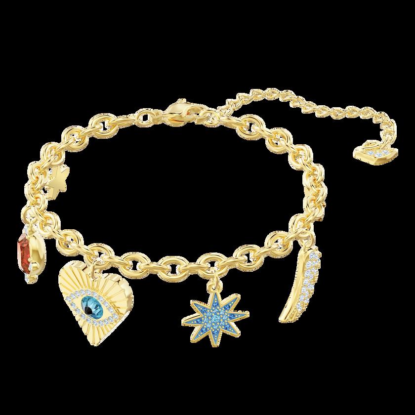 Lucky Goddess Charms Bracelet, Multi-colored, Gold plating