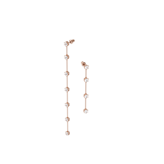 Constella earrings, Asymmetrical, White, Rose-gold tone plated