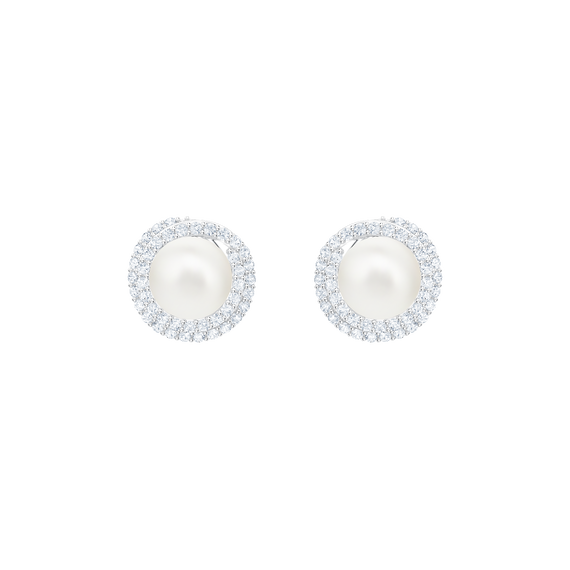 Originally Pierced Earrings Stud, White, Rhodium plating