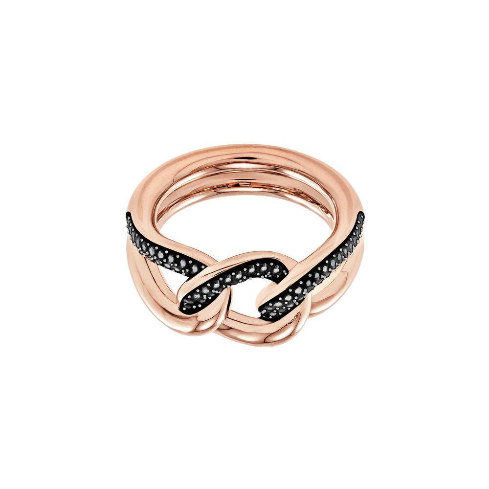 Lane Motif Ring, Black, Rose Gold Plating