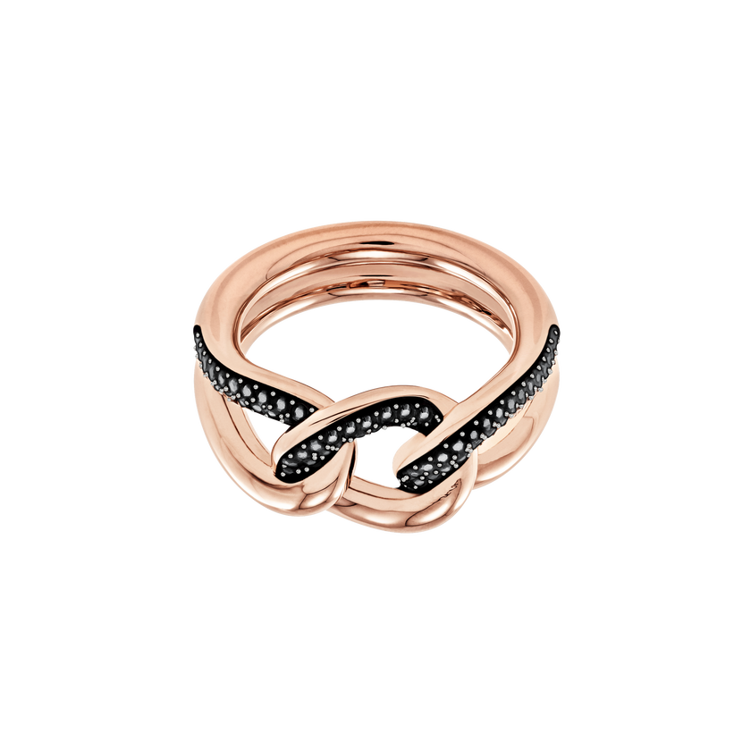 Lane Motif Ring, Black, Rose Gold Plating