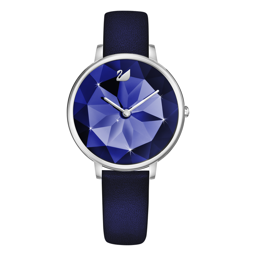 Crystal Lake Watch, Leather Strap, Blue, Silver Tone
