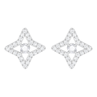 Sparkling Dance Star Stud Pierced Earrings, White, Rhodium plated