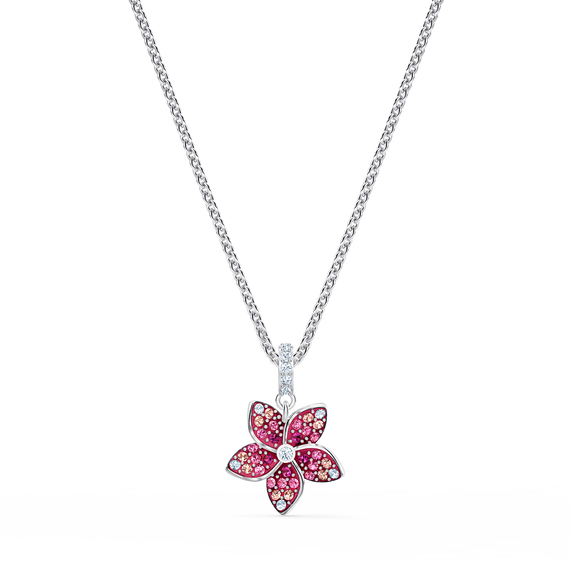 Tropical Flower Pendant, Pink, Rhodium plated