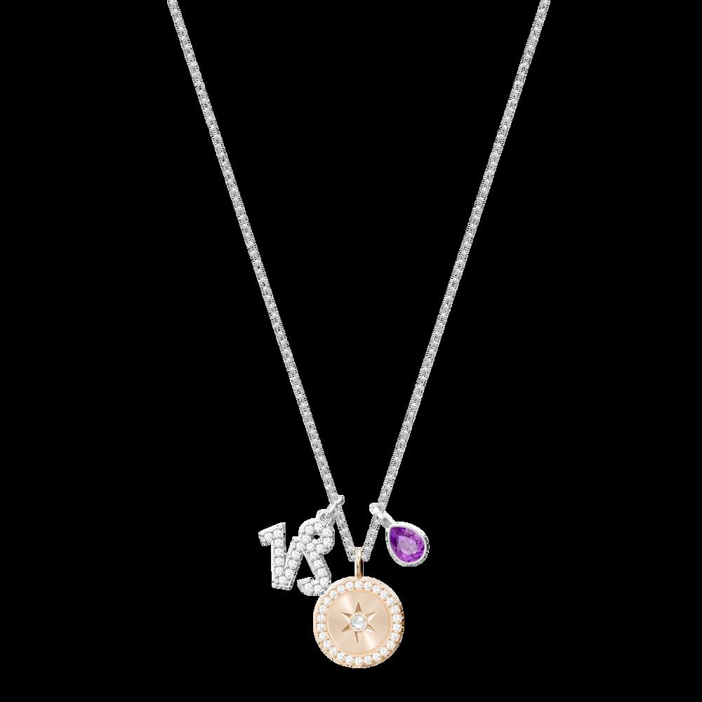 Zodiac Pendant, Capricorn, Purple, Rhodium Plating