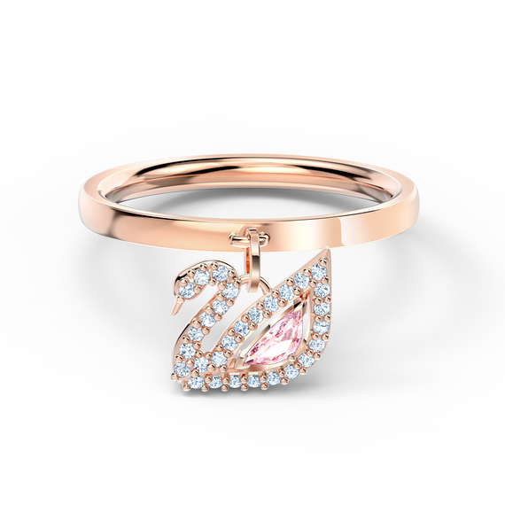 Dazzling Swan Ring, Pink, Rose-gold tone plated