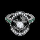 Black Baroque Motif Ring, Multi-colored, Ruthenium plated