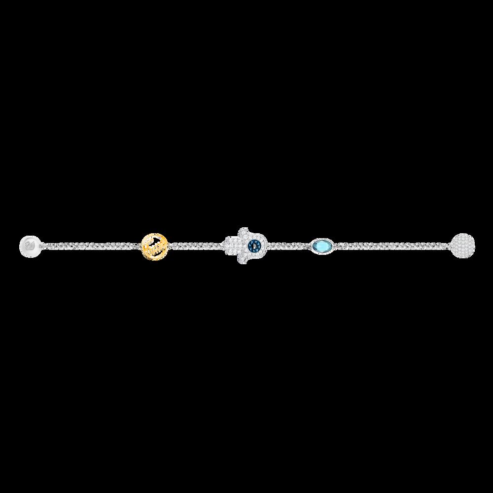The Swarovski Remix Collection, Hamsa Hand Symbol, Blue, Mixed Plated