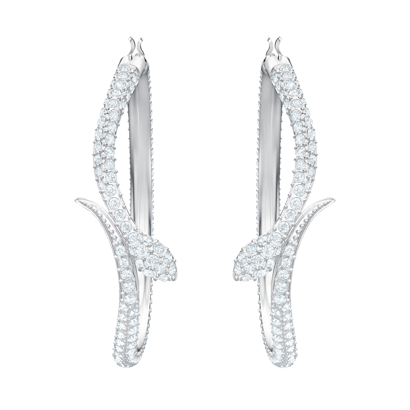 Leslie Pierced Earrings, White, Rhodium plating