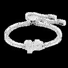 Lifelong Bow Bracelet, White, Rhodium plating