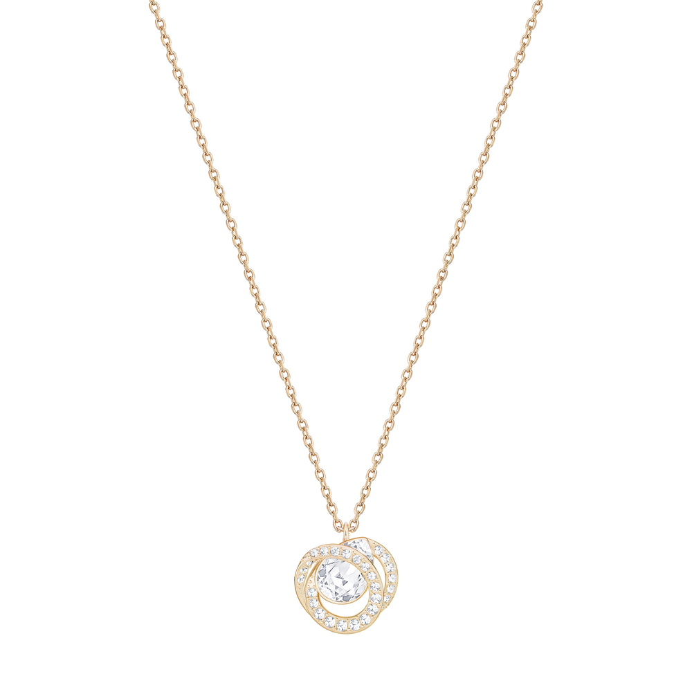 Generation Pendant, Small, White, Rose Gold Plated