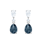 Vintage Pierced Earrings Pear, Blue, Rhodium plating