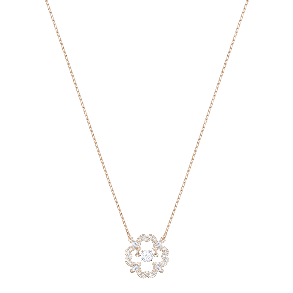 Sparkling Dance Flower Necklace, White, Rose Gold Plating