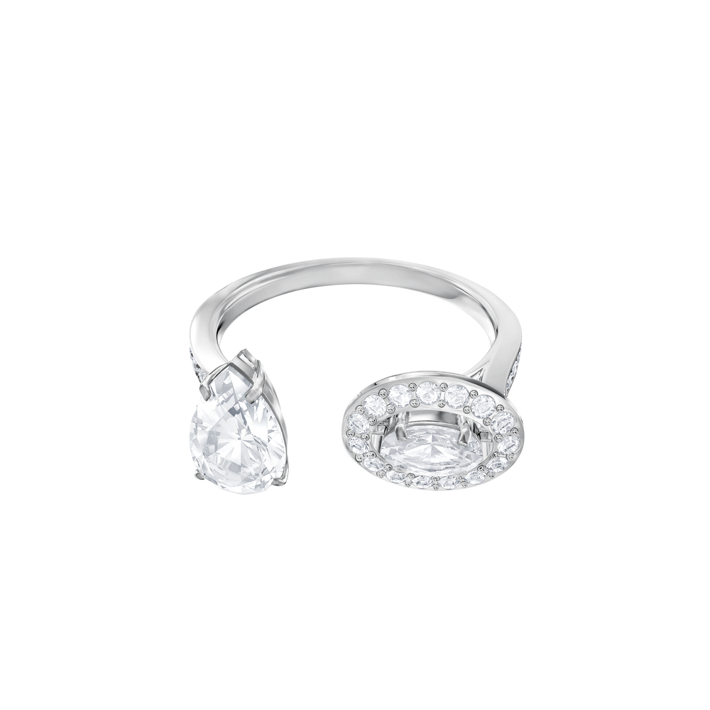 Attract Ring, White, Rhodium Plating