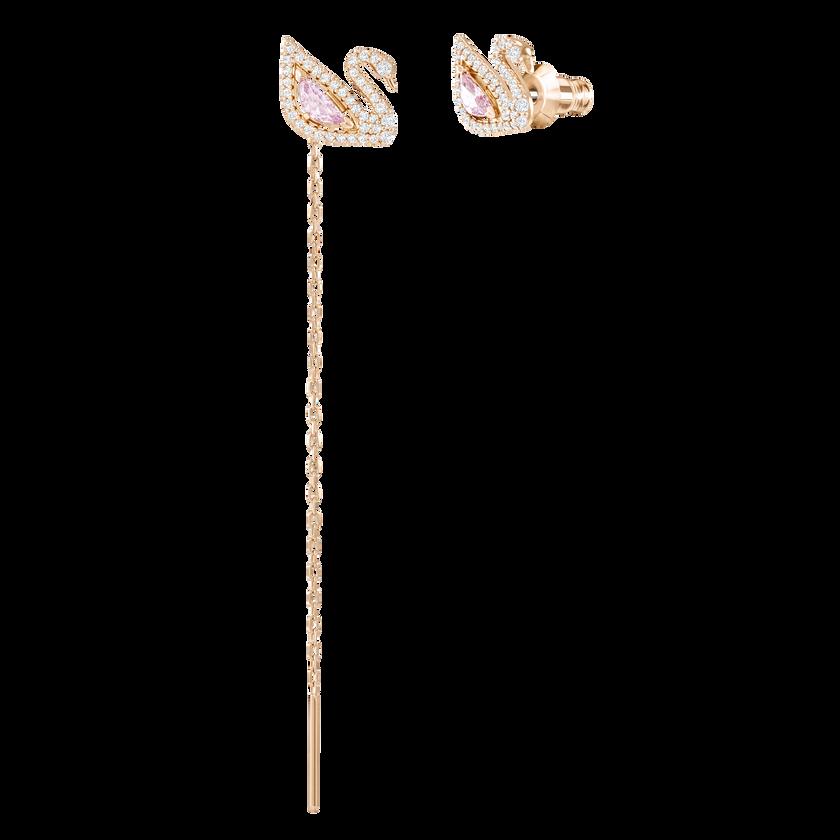 Dazzling Swan Pierced Earrings, Multi-colored, Rose gold plating