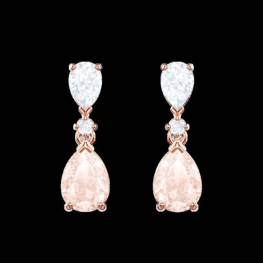 Vintage Pierced Earrings, Pink, Rose gold plating