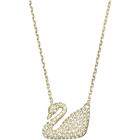 Swan Necklace, White, Gold-tone plated