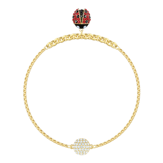 Swarovski Remix Collection Ladybug Strand, Multi-colored, Gold plating