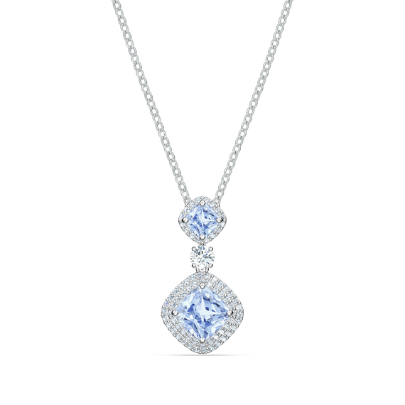 Angelic Necklace, Blue, Rhodium plated