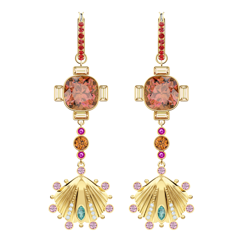 Lucky Goddess Shell Pierced Earrings, Multi-colored, Gold plating