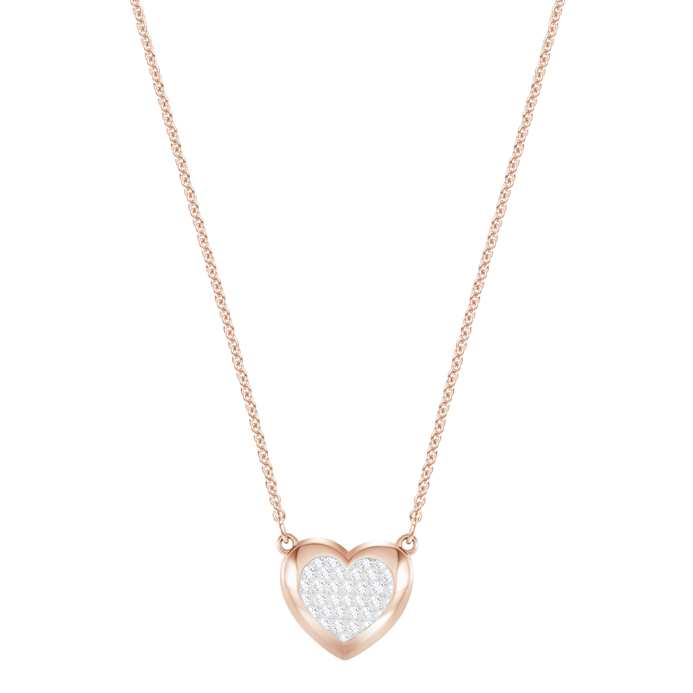 Hall Heart Pendant, White, Rose-gold tone plated