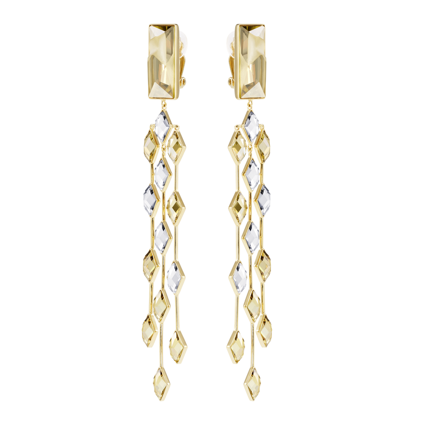 Notorious Clip Earrings, Multi-colored, Gold-tone plated