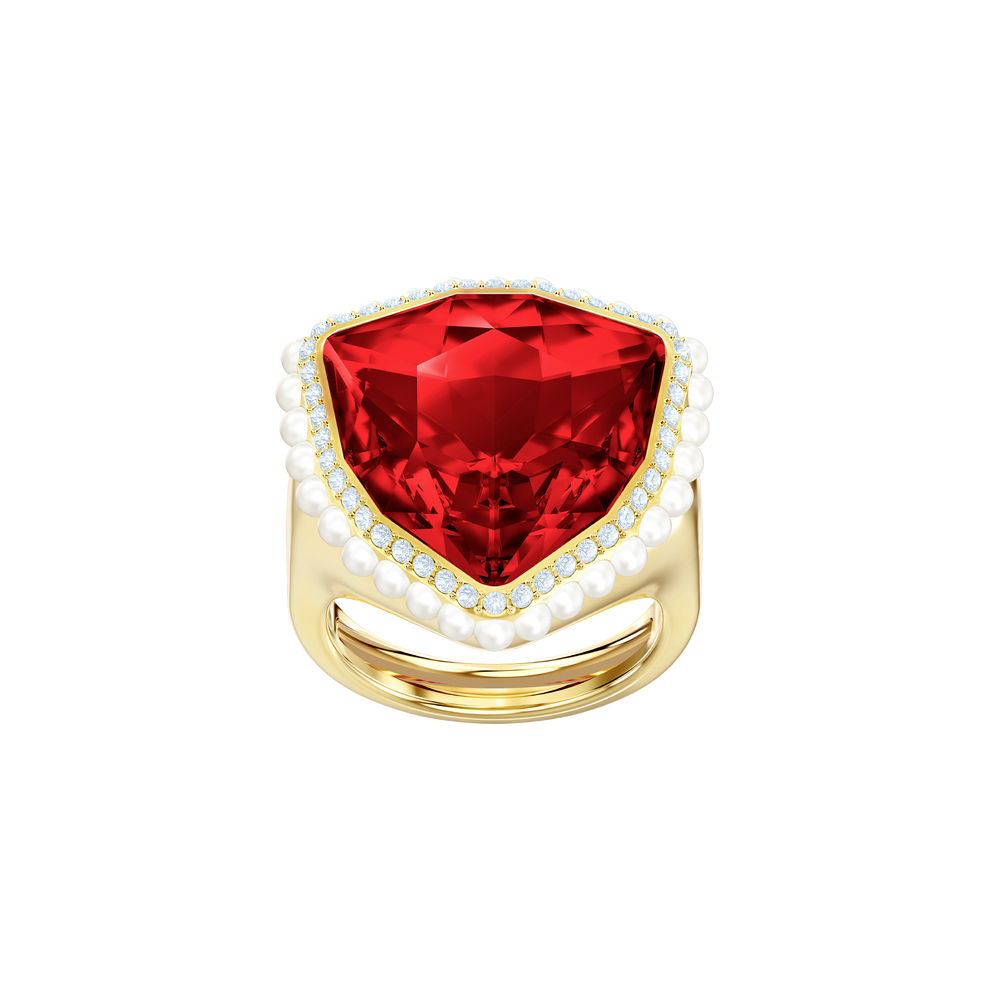 Lucky Goddess Cocktail Ring, Red, Gold plating