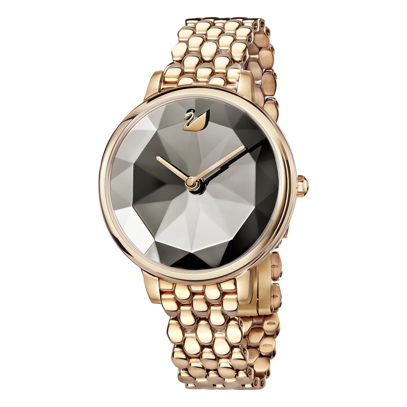 Crystal Lake Watch, Metal Bracelet, Gray, Rose Gold Tone