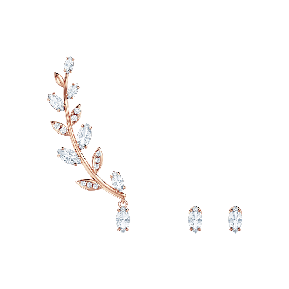 Mayfly Pierced Earrings, White, Rose-gold tone plated