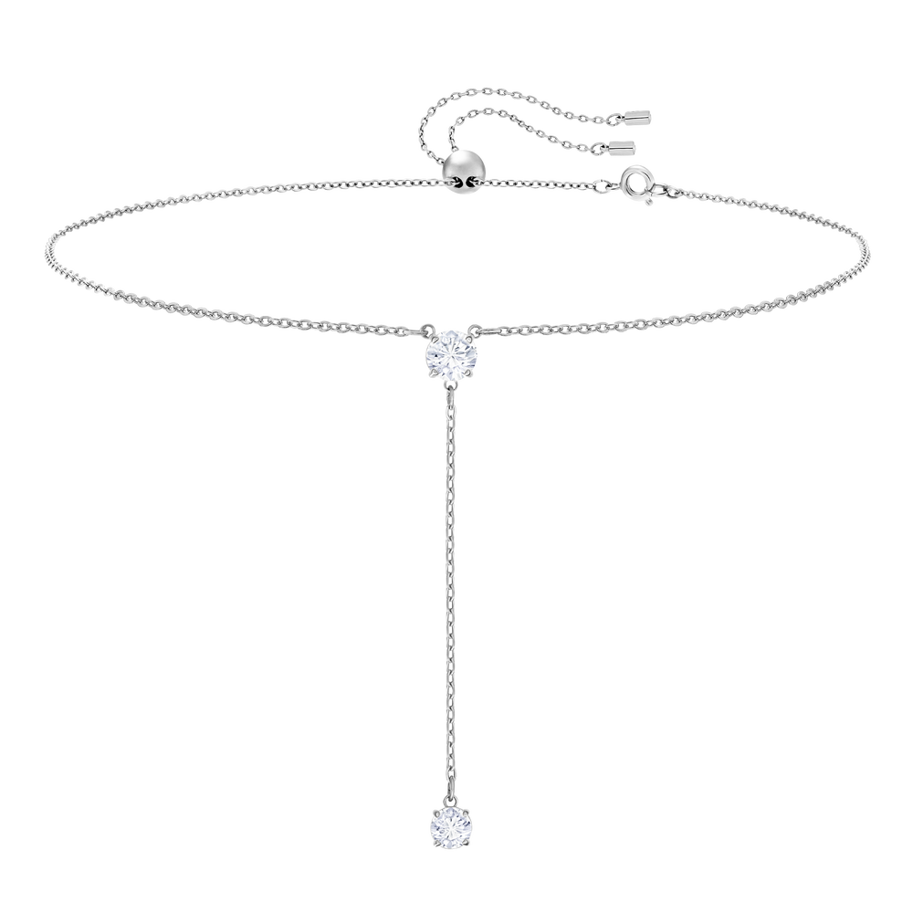 Attract Y Necklace, White, Rhodium Plating